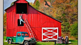 Red Barn in West Virginia with life size model of a man falling off ladder in Slatyfork, West Virginia
