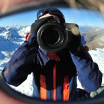 Photographer Sunglass Eye Portrait Reflection Mountains