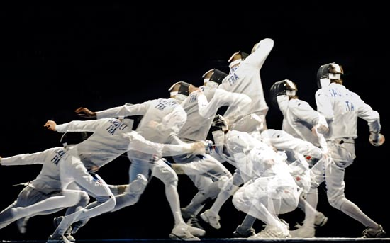 BEIJING OLYMPIC GAMES 2008 Fencing mens Epee multiple exposure Matteo Taglairiol (ITA) Vs Fabrice Jeannet (FRA)