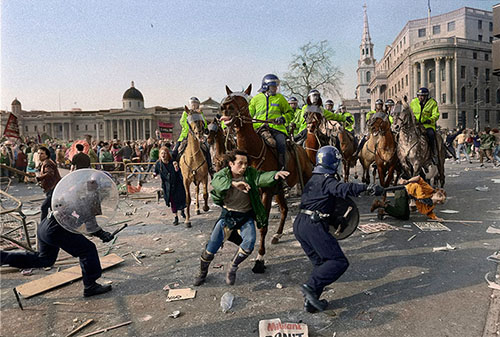 Poll Tax riot in Trafalgar Square, London  '90