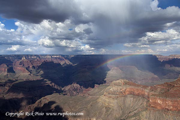 Rain Squall and Rainbow Over the Grand Canyon