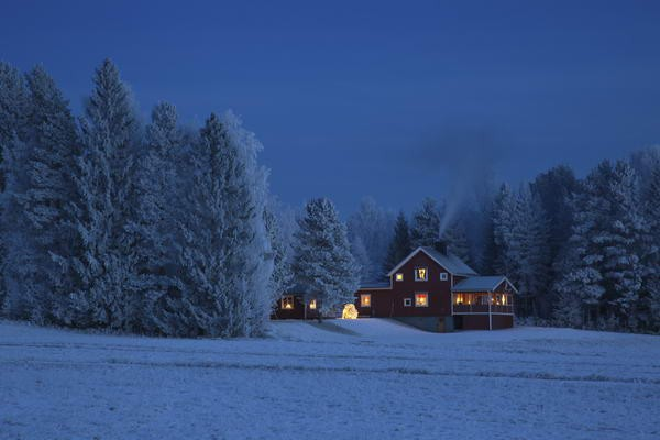 Red house at dusk in wintry forest