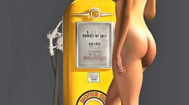 Combining an iconic Shell gas station pump with a beautiful, nude woman, this fine art piece is a truly fascinating approach to pop art. The level of detail in this piece is simply astonishing, particularly in terms of the Shell Gasoline pump. The striking yellow of the gas pump is also worth appreciating. This is certainly true when you compare that yellow to the blank backdrop. The woman is facing away from us, so we can't be certain what she might be thinking. Even so, this woman is clearly enthralled with the gas pump. You can imagine this piece in any space you want.