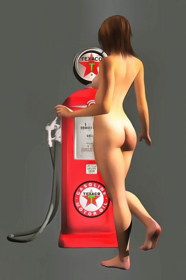 Early Texaco gas pumps featured iconic imagery and colors. You can bring those colors back to striking life with this impressive fine art piece. As a provocative contrast to the gas pump, we can see a nude woman facing away from us. Her nude backside is combined with a demure pose, and we can only imagine what might be happening in this compelling, unique piece. This is an excellent example of pop art, and it can make for a welcome addition to just about any room or space you can imagine. There is a unique energy to this piece that makes it very appealing.